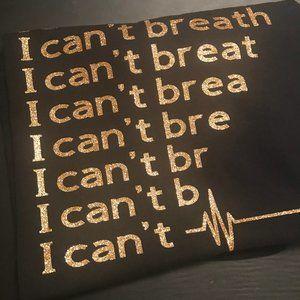 I Can't Breathe Black & Gold Tshirt sz M